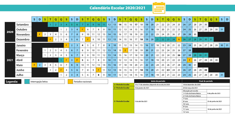 Novo Calendário Escolar 2020/2021